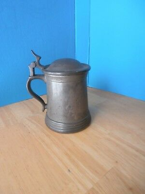 Antique Vintage Pewter Lidded Tankard 1/2 Pt Pint
