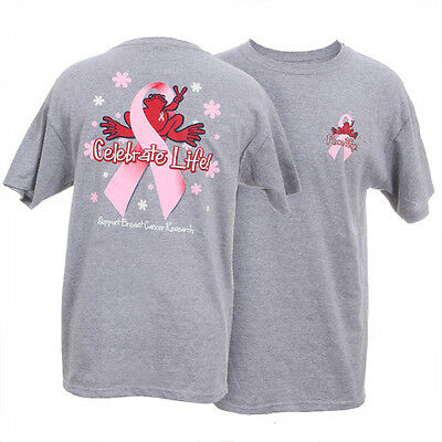 Peace Frogs Breast Cancer Celebrate Life Large Adult T-Shirt