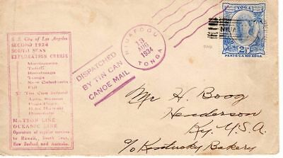 Tin Can Canoe Mail Tonga 1934 Brief selten !!          ##0471
