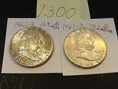 LOT of 2 Franklin silver half dollars, 1961-D & 1962-D, investment quality uncs