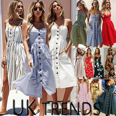 UK Womens Holiday Beach Long Button Ladies Summer Midi Floral Sun Dress Size6-20
