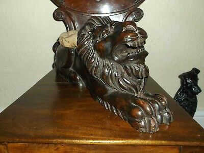 Rare Antique 19 C Georgian Carved Solid Wood Very Large Lion With Seat, Doorstop