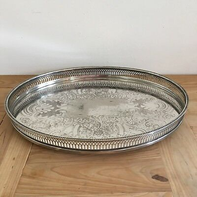 """Vintage Cavalier 16.5"""" Oval Silver Plated Gallery Butler Champagne Service Tray"""