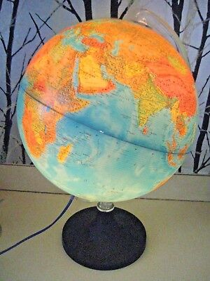"Vintage Rand Mcnally Illuminating 12"" Lighted World Globe"
