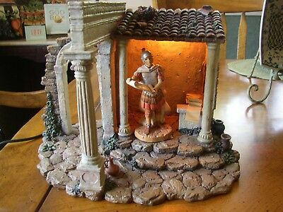 "Fontanini Heirloom Nativity Lighted Census Bldg For 5"" Pieces W/flavius Soldier"