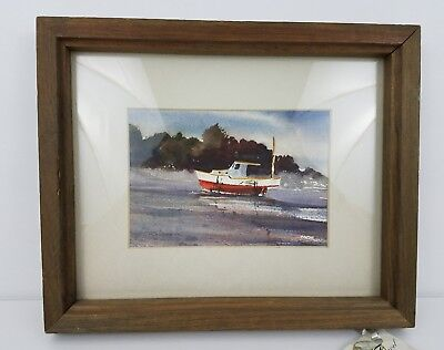 "Original Water Color Matted & Framed Small Boat Nautical 11"" X 9"""
