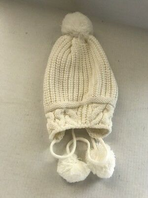 9caf933bca2 JOE BOXER IVORY Knit Winter Hat Beanie w Ear Flaps and Pom Poms NEW
