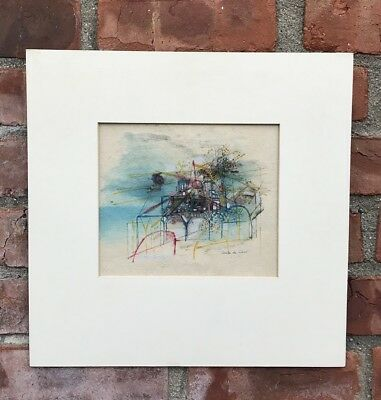 French Artist Anita De Caro Abstract Architecture Painting. Signed C1950's