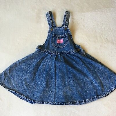 Vtg OshKosh Overall Dress Acid Washed Sz Girl's 6X USA Union Made Pink Label