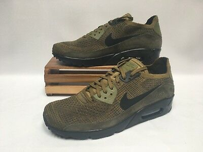21ca2b4ce2 Nike Air Max 90 Ultra 2.0 Flyknit Shoes Olive Flak Black 875943-302 Men's  NEW