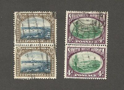 """South Africa~""""Suid Afrika"""" 2 X 4d  & 2 X 6d Stamps.FU,1931 definitives #SG 78-79"""