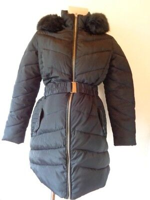 Dorothy Perkins Maternity Black Quilted Fur Trim Hooded Coat Jacket Size 10