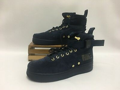 49242ab43abf Nike SF Air Force 1 Mid Sude Obsidian Blue Navy Black Gold 917753-400 Men s