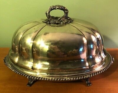 Antique Victorian Silverplate Heated Meat Platter With Dome Cover- Grape & Vine