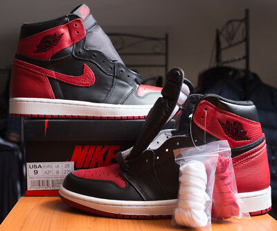Nike Air Jordan 1 Retro OG BANNED Bred 2016 New DS 42.5 UK 8 US 9 Black Toe