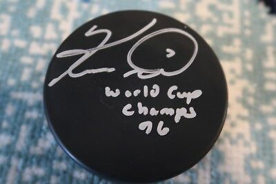 Keith Tkachuk 96 World Cup Champs Inscribed Signed Autographed Hockey Puck