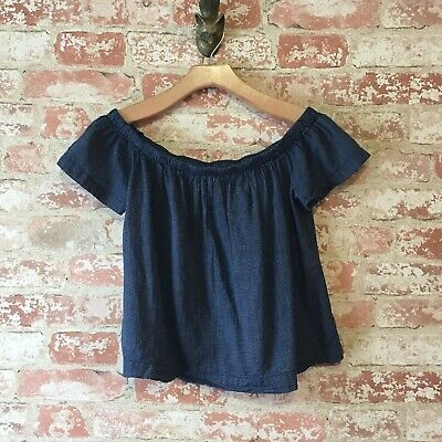 067a745142139a ANTHROPOLOGIE CLOTH   Stone Navy White Off Shoulder Crop Top Blouse ...