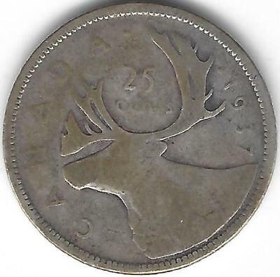 1937 Canada Silver Quarter Dollar 25 cent one (1) coin