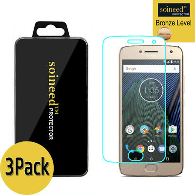 [3-Pack] SOINEED Tempered Glass Screen Protector Film For Motorola Moto G5 Plus