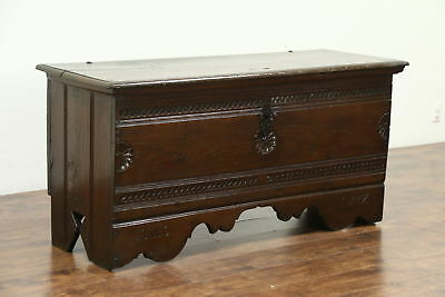 Cassone Italian 1700's Antique Oak Marriage Chest or Dowry Trunk #28789