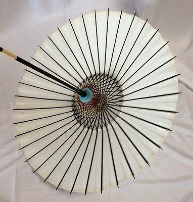 Vintage Japanese Asian Parasol Sun Umbrella Bamboo Rice Paper Lacquer White NEW