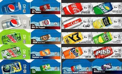 20 Mixed Pepsi Coke Labels 12oz Can Small Tab Strips-Soda Machine Vending Labels