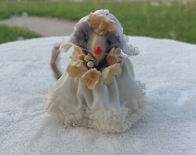 "Vintage ""Original Fur Toys"" W. Germany Mice Mouse Figure White Gown plus Flowers"