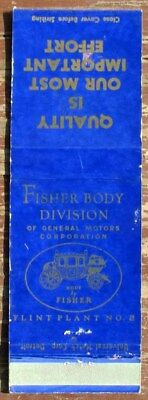 Early Gm Fisher Body Advertising Matchbook Cover Very Nice L@@k #e164