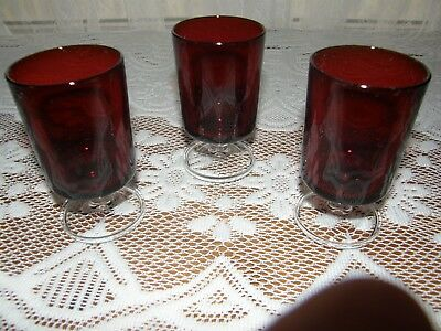 """Set of 3 Arcoroc Luminarc Ruby Red Durand France Cavalier Juice Glass 4-1/8"""""""