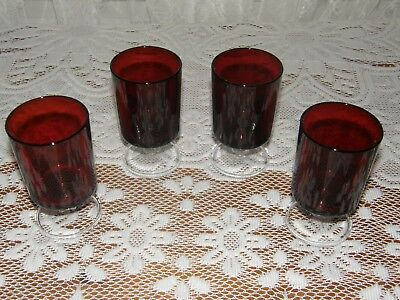 """Set of 4 Arcoroc Luminarc Ruby Red Durand France Cavalier Juice Glass 4-1/8"""""""