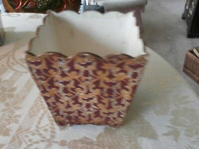Rare Vintage Florentine Wood Planter  Waste Basket Merlot And Gold Swirls Nice!!