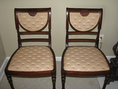 Pair of antique mahogany bedroom sitting side CHAIRS - circa 1880's Victorian