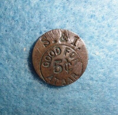 """1870's Sweden, 1-Ore Coin, Counterstamped  """"S & I, Good For 5c At Bar""""."""