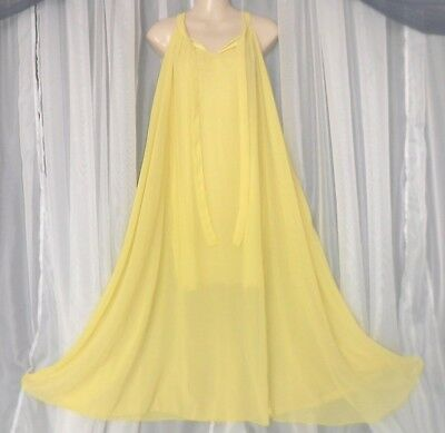 M.Vtg.2 layer bright yellow,sheer chiffon,vintage nightgown,lingerie,sweep,night