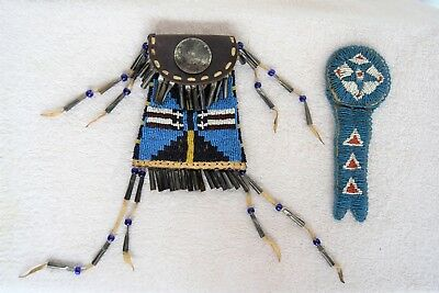 c. 1900's Native American Plains Indian Lakota Beaded Strike a Lite Tobacco Bag