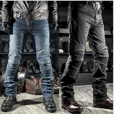 Japan KOMINE MOTORCYCLE JEANS WITH PAD DENIM BIKER BLUE BLACK DISTRESSED PANTS