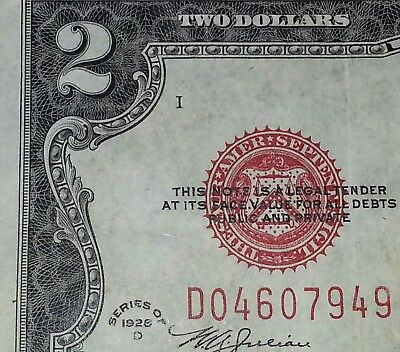 *1928* D 2$ Red Seal ! Very Fine Condition! ! Old Us Currency !