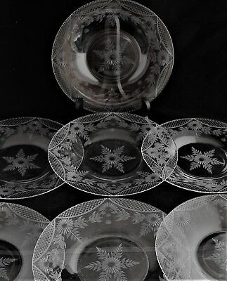 ANTIQUE Set of 7 Cut Glass Crystal Engraved flowers Salad Luncheon plates