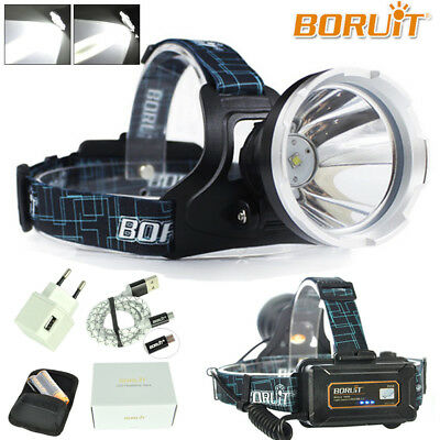 BORUiT Micro USB Headlamp Headlight Flashlight XM-L L2 LED Digital Hunting Light