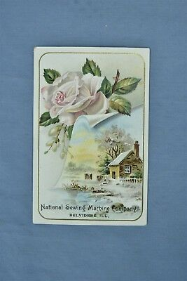 Advertising Victorian Trade Card National Sewing Machine Belvidere Il Old #05239