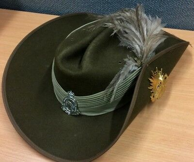 AUSTRALIAN Army SLOUCH Hat with RISING Sun BADGE and S.A. Mounted RIFLES Badge