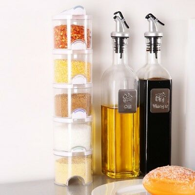 AU 5pcs/Set Kitchen Tool Plastic Salt Spice Seasoning Storage Box Pepper Shakers