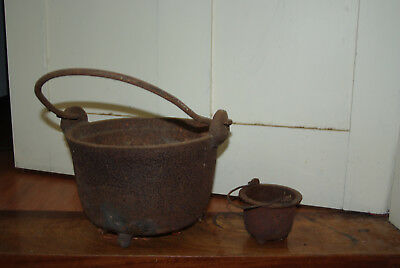 Collectible Cast Iron Lead Smelting/Melting Pots with Dipper