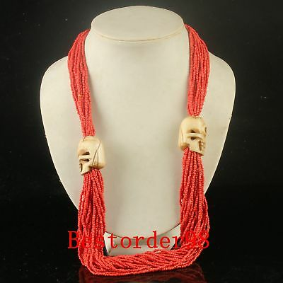 Ethnic Style Exquisite Red Coral & Bone Carving Handwork Skull Necklace CC0384