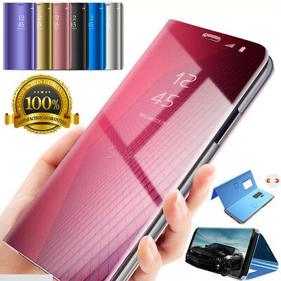 360° Flip Smart Clear View Mirror Leather Book Bag Case Cover for Galaxy A6 J7+