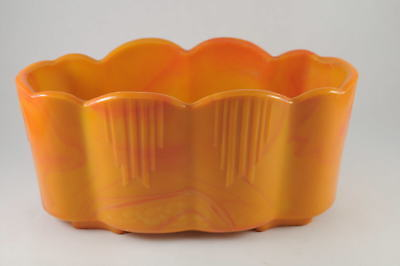 "Rare 8.5""x4.25"" Akro Agate Pumpkin Orange Slag Glass Art Deco Dart Planter #651"