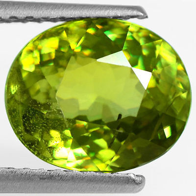 3.05 Cts Natural Top Yellow Green Color Sphene Oval Cut Pakistan Loose Gemstone