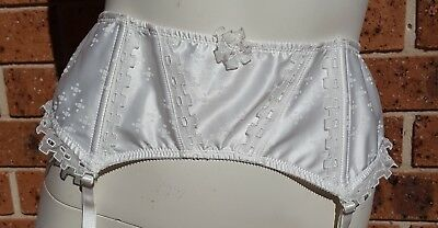 Pleasure State Suspender Belt Cream Satin and Lace Size Large