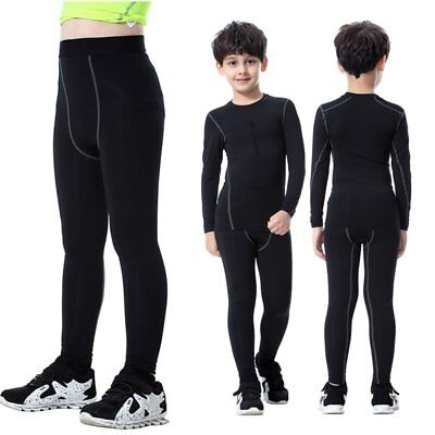 Quick Dry Kids Long/Mid Thigh Sport Compression Shorts Base Layer Pants Trousers