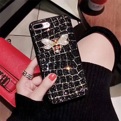 Black Luxury Rhinestone Bee Phone Case for iPhone 6 7 8 X For Phone 8 plus case